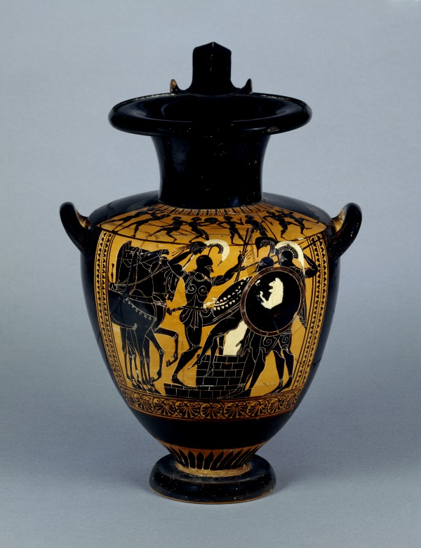 Hydria with Achilles Slaying Troilos Terracotta, black-figure, ca. 510-500 BC, from Vulci. British Museum, inv. no. 1837,0609.69 © Trustees of the British Museum