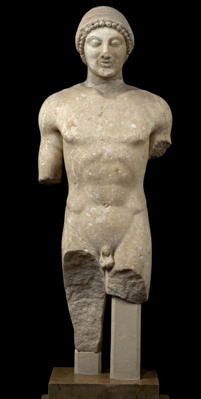 Statue of a Kouros Marble, ca. 500 BC, from the Sanctuary of Apollo at Ptoos. National Archaeological Museum, Athens, inv. no. 20 © Hellenic Ministry of Culture and Sports–Archaeological Receipts Fund, Photography Kostas Xenikakis