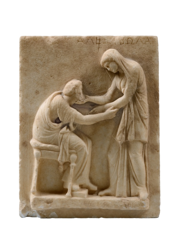 Funerary Stele Marble, early 3rd century BC, from the Cemetery of Ancient Thera. Archaeological Museum of Thera, inv. no. 321 © Hellenic Ministry of Culture and Sports–Archaeological Receipts Fund, Photography Kostas Xenikakis