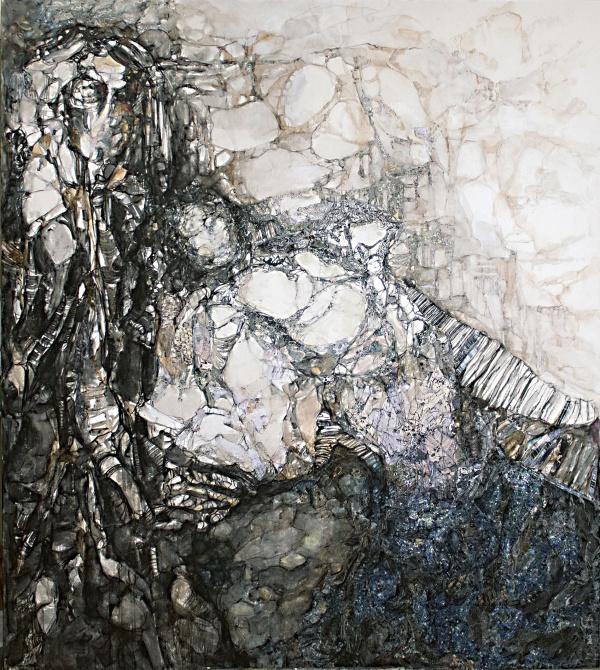 Sofia Papadopoulou, ''Τhe Ηug''  1,60x1,40cm, μικτή τεχνική