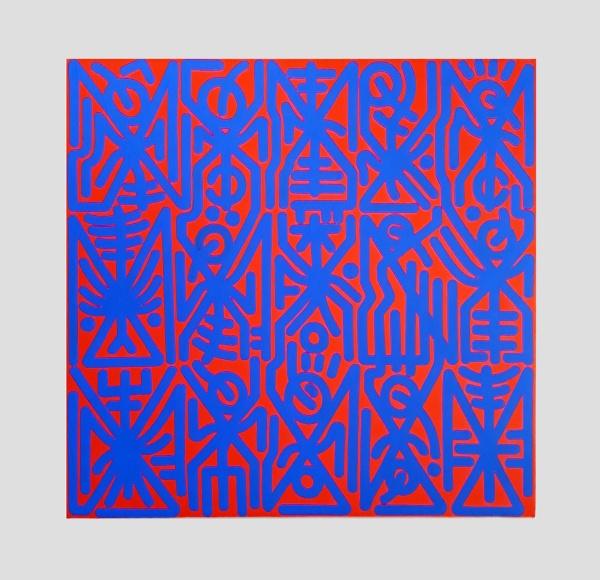Dimitris Ntokos, 'BlueRed' 2019, 65 x 65 cm, Acrylic and Gouache on Canvas