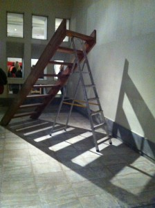 Savvas Christodoulides b. 1961 Ladders Joined Together, 2012 Wood, aluminium 220 x 280 x 100 cm